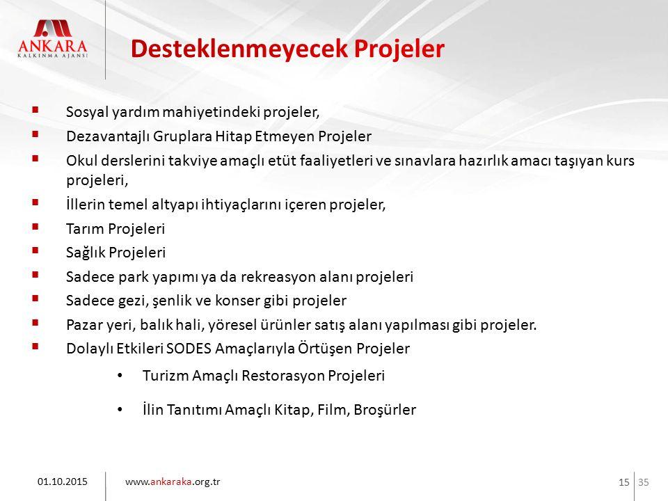 35 www.ankaraka.org.tr 15  Sosyal yardım mahiyetindeki projeler,  Dezavantajlı Gruplara Hitap Etmeyen Projeler  Okul derslerini takviye amaçlı etüt