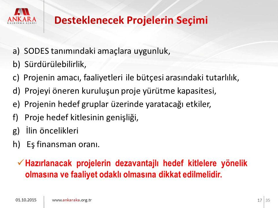 35 www.ankaraka.org.tr 17 a) SODES tanımındaki amaçlara uygunluk, b) Sürdürülebilirlik, c) Projenin amacı, faaliyetleri ile bütçesi arasındaki tutarlı