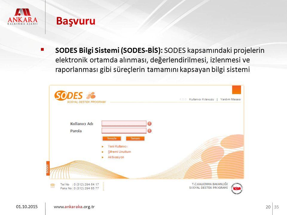 35 www.ankaraka.org.tr 20  SODES Bilgi Sistemi (SODES-BİS): SODES kapsamındaki projelerin elektronik ortamda alınması, değerlendirilmesi, izlenmesi v