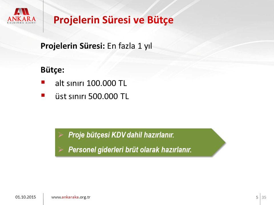 35 www.ankaraka.org.tr 5 Projelerin Süresi: En fazla 1 yıl Bütçe:  alt sınırı 100.000 TL  üst sınırı 500.000 TL 01.10.2015  Proje bütçesi KDV dahil