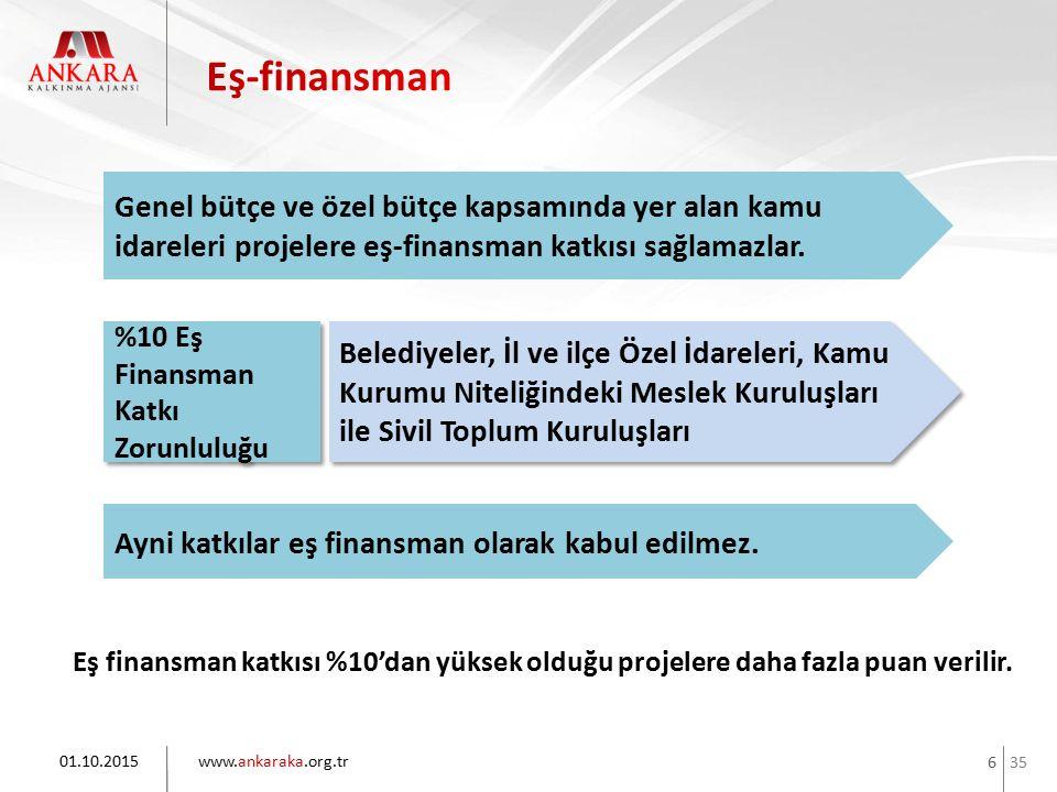 35 www.ankaraka.org.tr 6 Eş finansman katkısı %10'dan yüksek olduğu projelere daha fazla puan verilir. 01.10.2015 Belediyeler, İl ve ilçe Özel İdarele