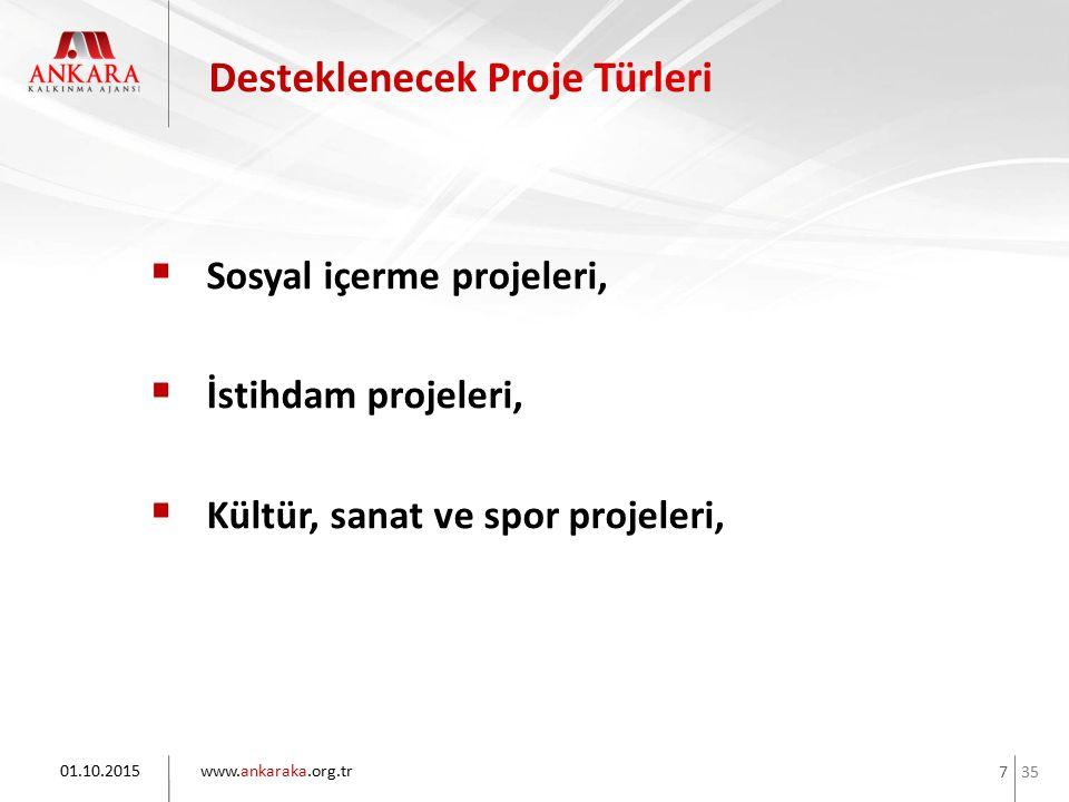35 www.ankaraka.org.tr 7  Sosyal içerme projeleri,  İstihdam projeleri,  Kültür, sanat ve spor projeleri, 01.10.2015