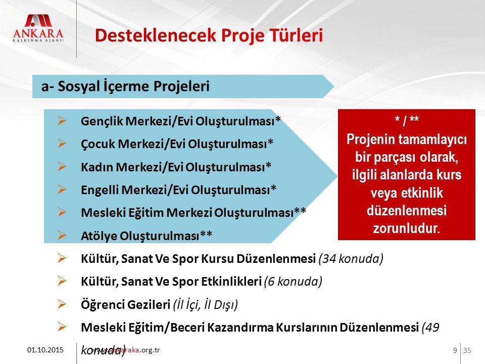 35 www.ankaraka.org.tr 9 01.10.2015 a- Sosyal İçerme Projeleri * / ** Projenin tamamlayıcı bir parçası olarak, ilgili alanlarda kurs veya etkinlik düz
