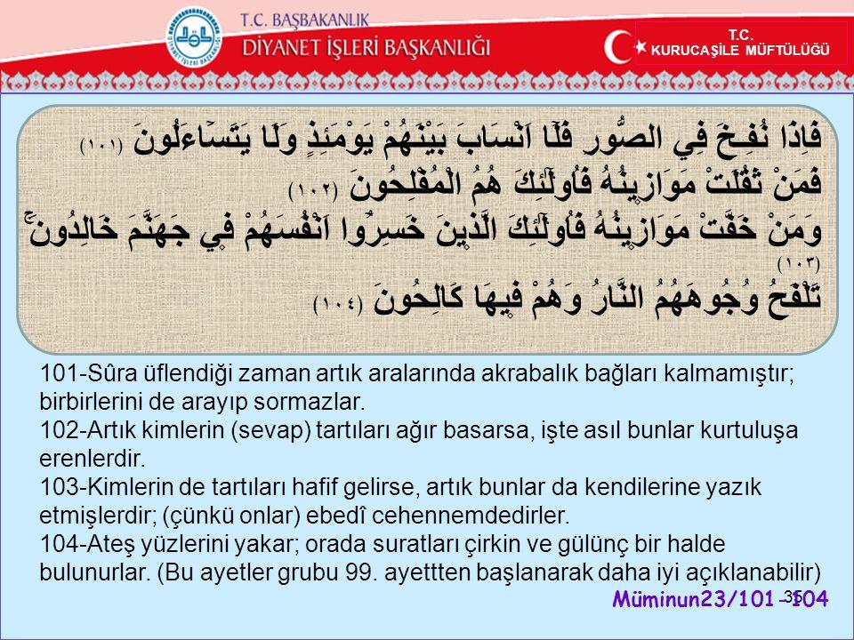 35 101-Sûra üflendiği zaman artık aralarında akrabalık bağları kalmamıştır; birbirlerini de arayıp sormazlar.