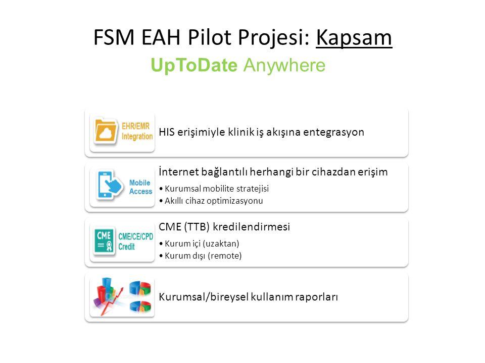 UpToDate Anywhere FSM EAH Pilot Projesi: Kapsam HIS erişimiyle klinik iş akışına entegrasyon İnternet bağlantılı herhangi bir cihazdan erişim Kurumsal mobilite stratejisi Akıllı cihaz optimizasyonu CME (TTB) kredilendirmesi Kurum içi (uzaktan) Kurum dışı (remote) Kurumsal/bireysel kullanım raporları