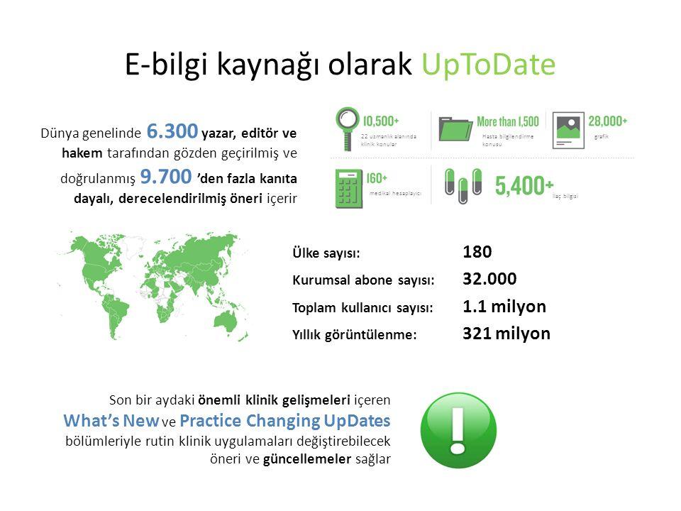 E-bilgi kaynağı olarak UpToDate Ülke sayısı: 180 Kurumsal abone sayısı: 32.000 Toplam kullanıcı sayısı: 1.1 milyon Yıllık görüntülenme: 321 milyon Dünya genelinde 6.300 yazar, editör ve hakem tarafından gözden geçirilmiş ve doğrulanmış 9.700 'den fazla kanıta dayalı, derecelendirilmiş öneri içerir Son bir aydaki önemli klinik gelişmeleri içeren What's New ve Practice Changing UpDates bölümleriyle rutin klinik uygulamaları değiştirebilecek öneri ve güncellemeler sağlar 22 uzmanlık alanında klinik konular Hasta bilgilendirme konusu grafik medikal hesaplayıcı İlaç bilgisi