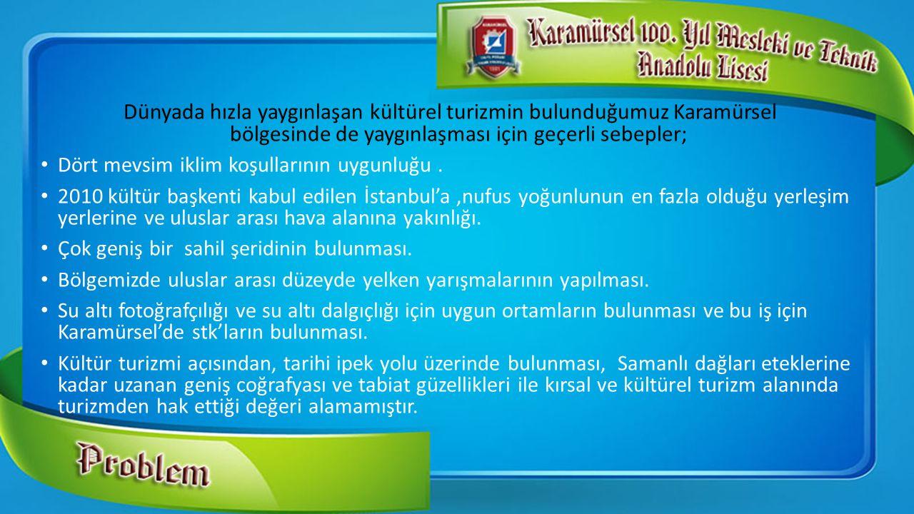 Dünyada hızla yaygınlaşan kültürel turizmin bulunduğumuz Karamürsel bölgesinde de yaygınlaşması için geçerli sebepler; Dört mevsim iklim koşullarının