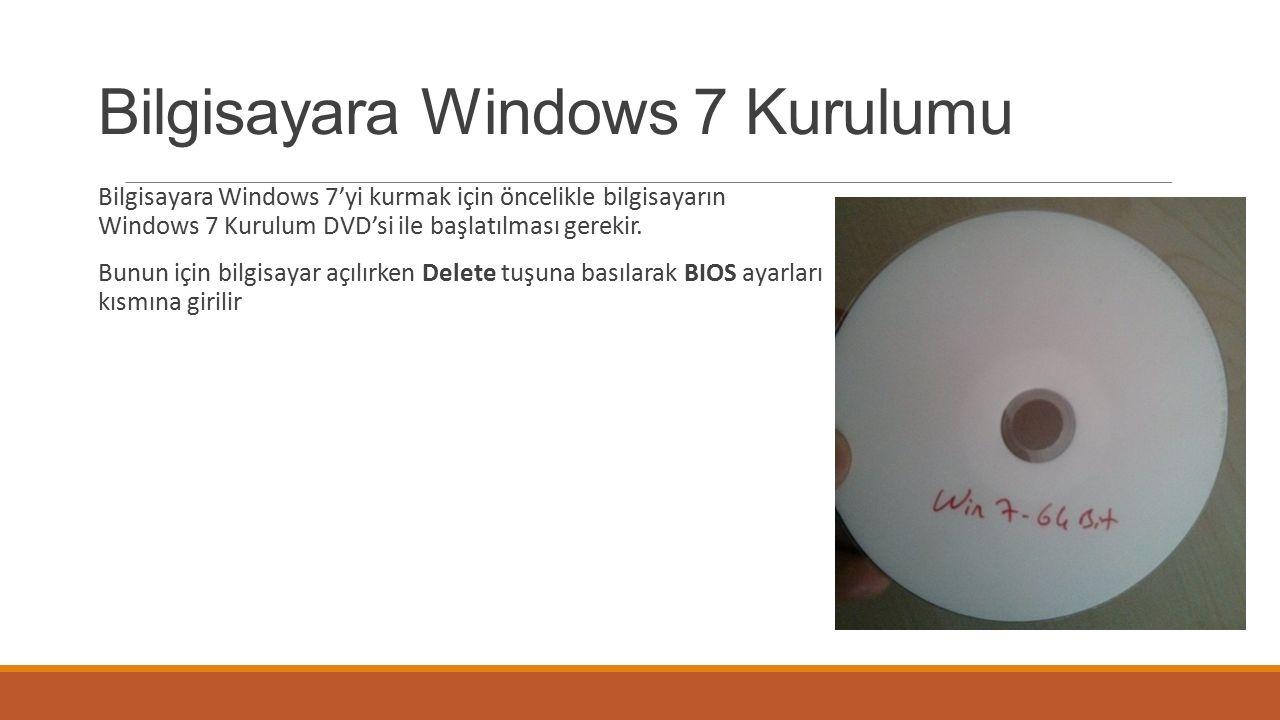 Bilgisayara Windows 7 Kurulumu Bilgisayara Windows 7'yi kurmak için öncelikle bilgisayarın Windows 7 Kurulum DVD'si ile başlatılması gerekir.