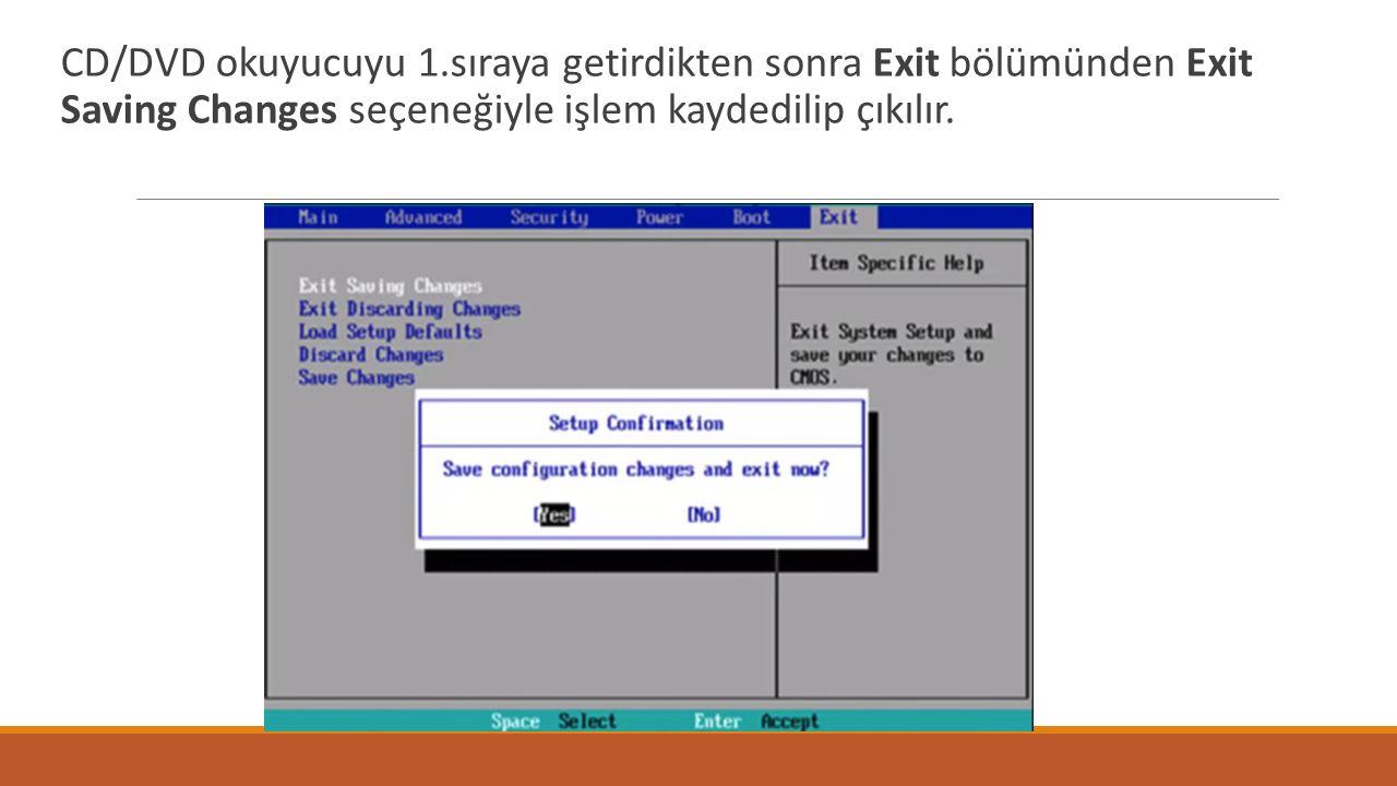 CD/DVD okuyucuyu 1.sıraya getirdikten sonra Exit bölümünden Exit Saving Changes seçeneğiyle işlem kaydedilip çıkılır.