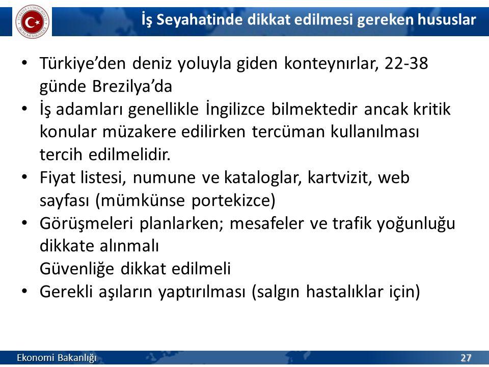 27 Türkiye'den deniz yoluyla giden konteynırlar, 22-38 günde Brezilya'da İş adamları genellikle İngilizce bilmektedir ancak kritik konular müzakere ed