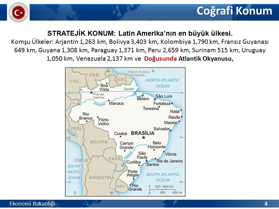 Coğrafi Konum STRATEJİK KONUM: Latin Amerika'nın en büyük ülkesi. Komşu Ülkeler: Arjantin 1,263 km, Bolivya 3,403 km, Kolombiya 1,790 km, Fransız Guya