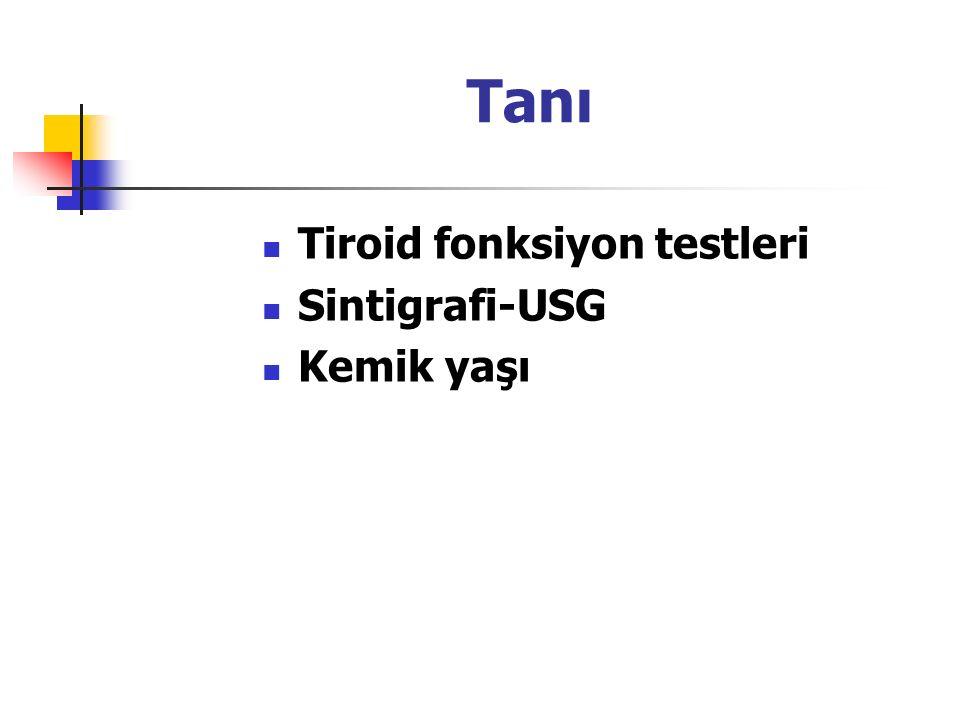 Tanı Tiroid fonksiyon testleri Sintigrafi-USG Kemik yaşı