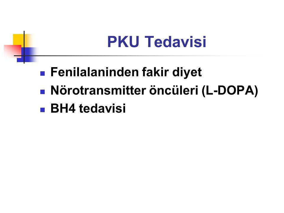 PKU Tedavisi Fenilalaninden fakir diyet Nörotransmitter öncüleri (L-DOPA) BH4 tedavisi