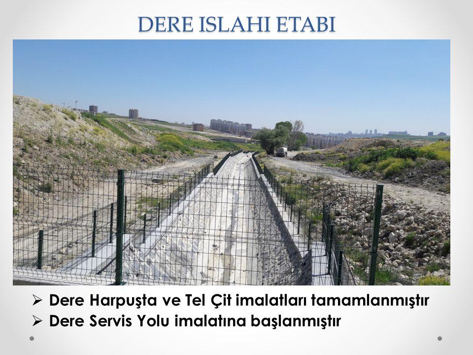 DERE ISLAHI ETABI  Dere Harpuşta ve Tel Çit imalatları tamamlanmıştır  Dere Servis Yolu imalatına başlanmıştır