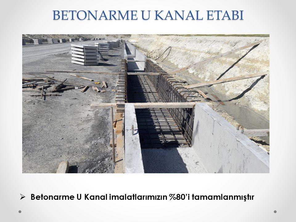 BETONARME U KANAL ETABI  Betonarme U Kanal imalatlarımızın %80'i tamamlanmıştır