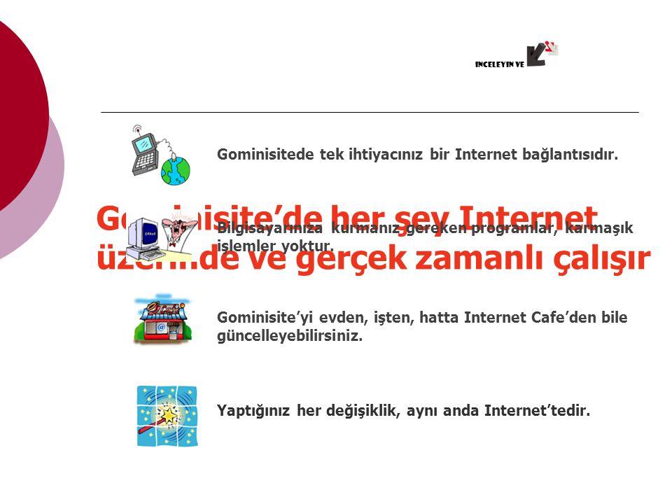 Gominisite'de her şey Internet üzerinde ve gerçek zamanlı çalışır Gominisitede tek ihtiyacınız bir Internet bağlantısıdır.