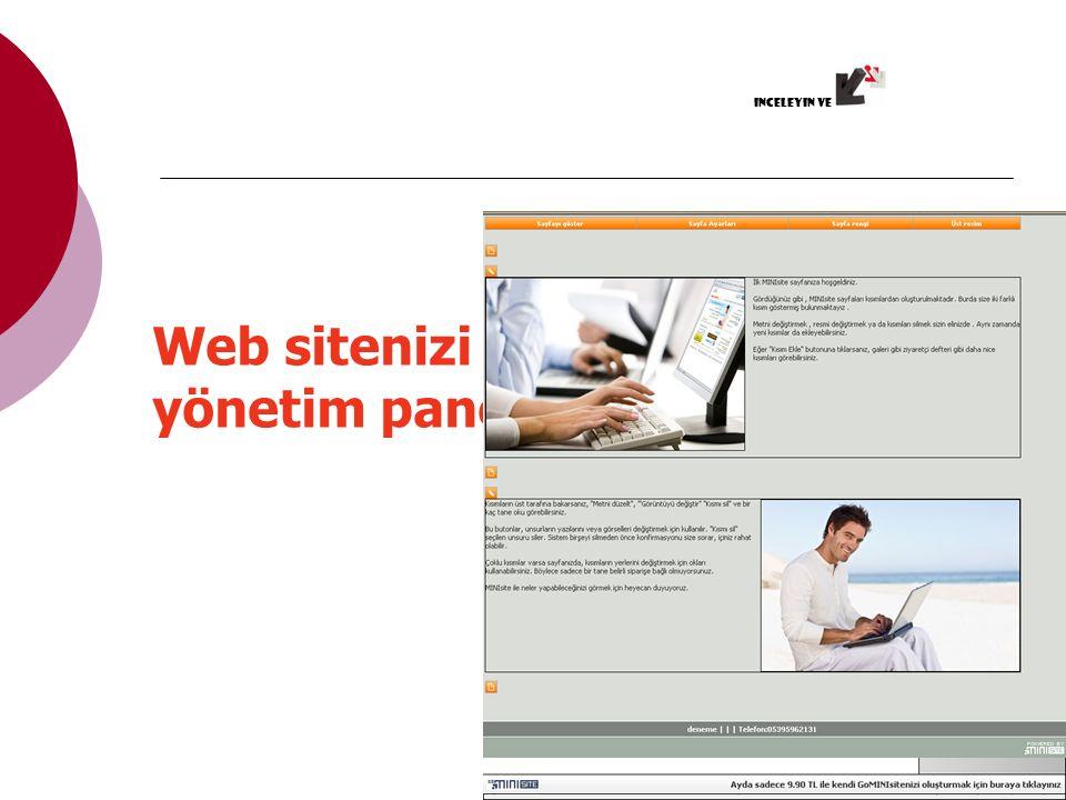 Web sitenizi Gominisite'nin yönetim panelinden yönetin inceleyin ve