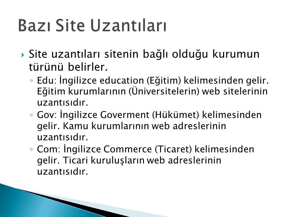  Site uzantıları sitenin bağlı olduğu kurumun türünü belirler.