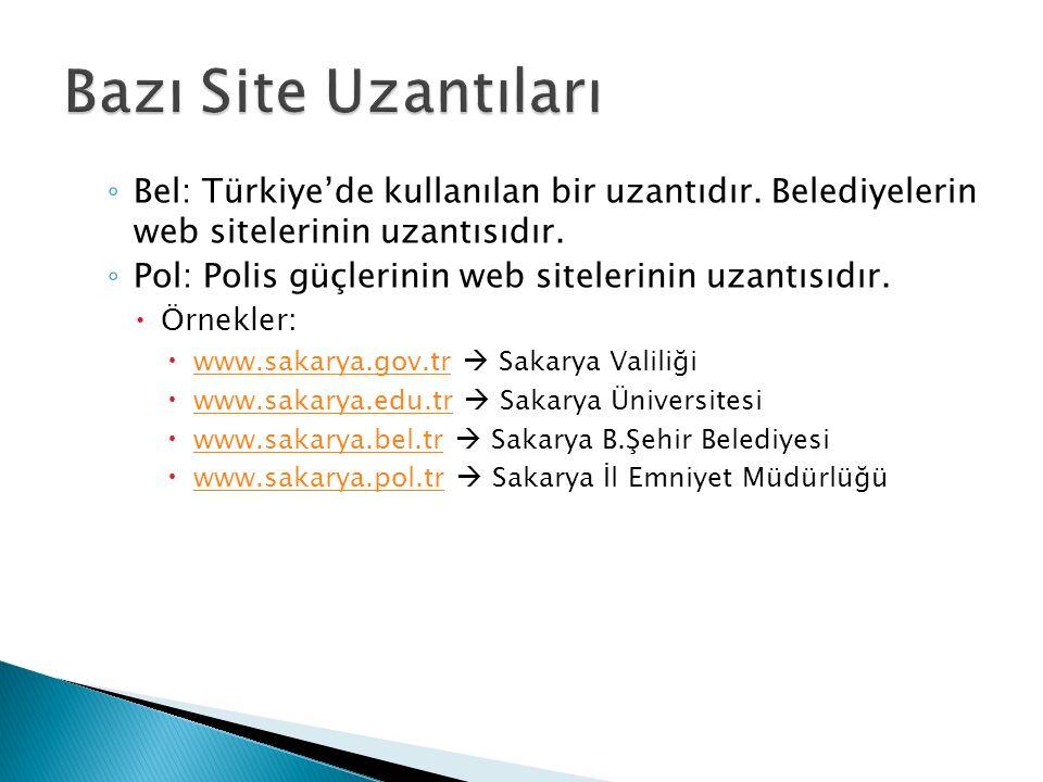 ◦ Bel: Türkiye'de kullanılan bir uzantıdır. Belediyelerin web sitelerinin uzantısıdır.