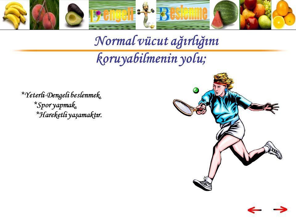 *Yeterli-Dengeli beslenmek, *Spor yapmak, *Hareketli yaşamaktır.