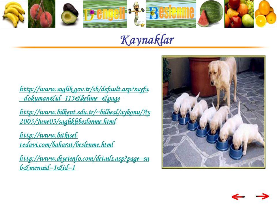 http://www.saglik.gov.tr/sb/default.asp sayfa =dokuman&id=113&kelime=&pagehttp://www.saglik.gov.tr/sb/default.asp sayfa =dokuman&id=113&kelime=&page= http://www.bilkent.edu.tr/~bilheal/aykonu/Ay 2003/June03/sagliklibeslenme.html http://www.bitkisel- tedavi.com/baharat/beslenme.html http://www.diyetinfo.com/details.asp page=su b&menuid=1&id=1 Kaynaklar