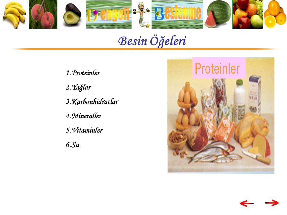 1.Proteinler 2.Yağlar 3.Karbonhidratlar 4.Mineraller 5.Vitaminler 6.Su Besin Öğeleri