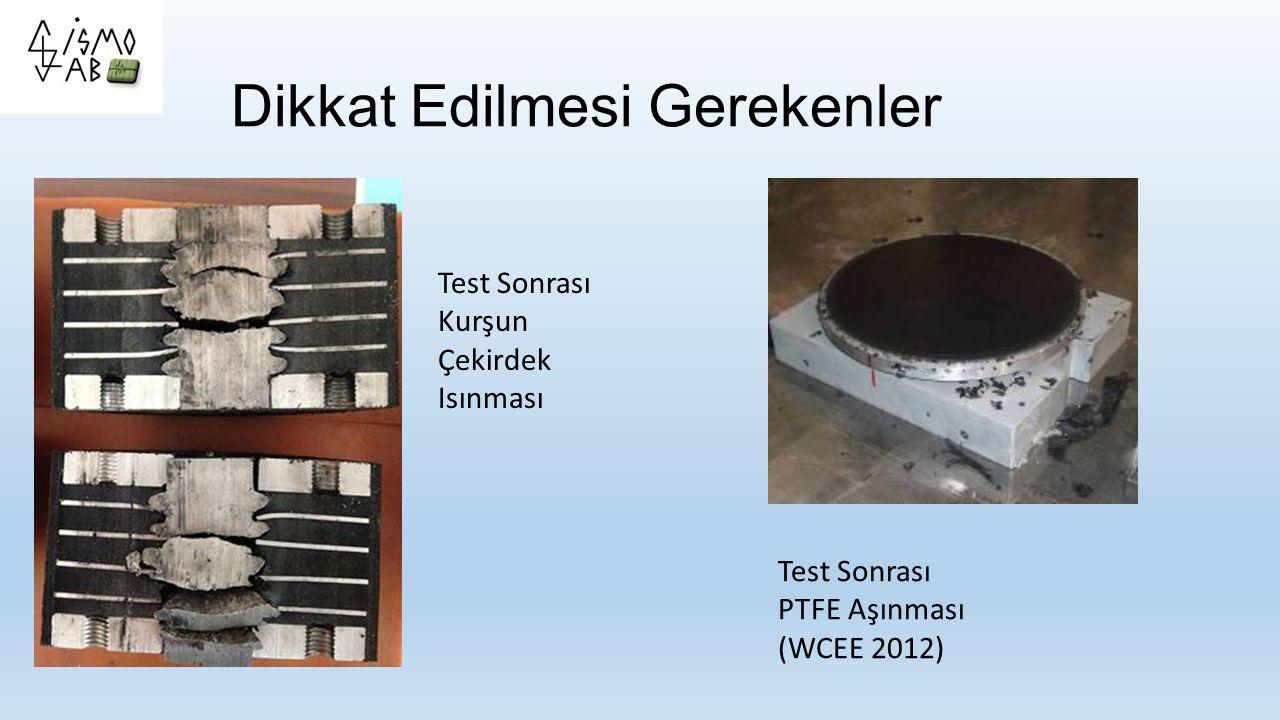 Dikkat Edilmesi Gerekenler Test Sonrası Kurşun Çekirdek Isınması Test Sonrası PTFE Aşınması (WCEE 2012)