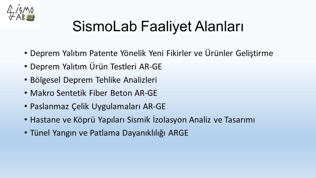 SismoLab Testler Tipik Mesnet Testleri (EN1337, AASHTO) Deprem Yalıtım Testleri (bazı kısımları EN 15129, IBC veya AASHTO) Sönüm Eleman Testleri Deprem Sarsma Testleri Yapısal Yangın Testleri - Danışman Yapısal Patlama Testleri - Danışman