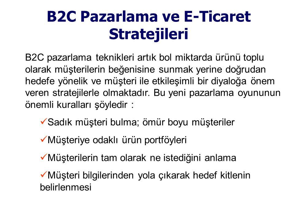 B2C Pazarlama ve E-Ticaret Stratejileri B2C pazarlama teknikleri artık bol miktarda ürünü toplu olarak müşterilerin beğenisine sunmak yerine doğrudan