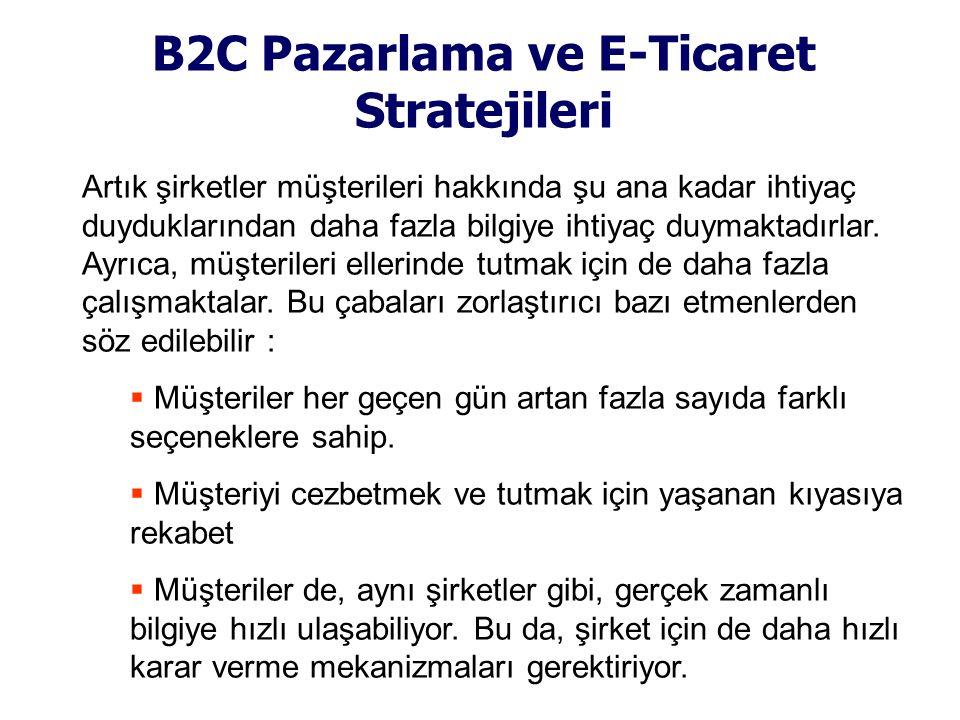 B2C Pazarlama ve E-Ticaret Stratejileri Artık şirketler müşterileri hakkında şu ana kadar ihtiyaç duyduklarından daha fazla bilgiye ihtiyaç duymaktadı