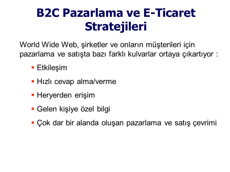 B2C Pazarlama ve E-Ticaret Stratejileri World Wide Web, şirketler ve onların müşterileri için pazarlama ve satışta bazı farklı kulvarlar ortaya çıkart