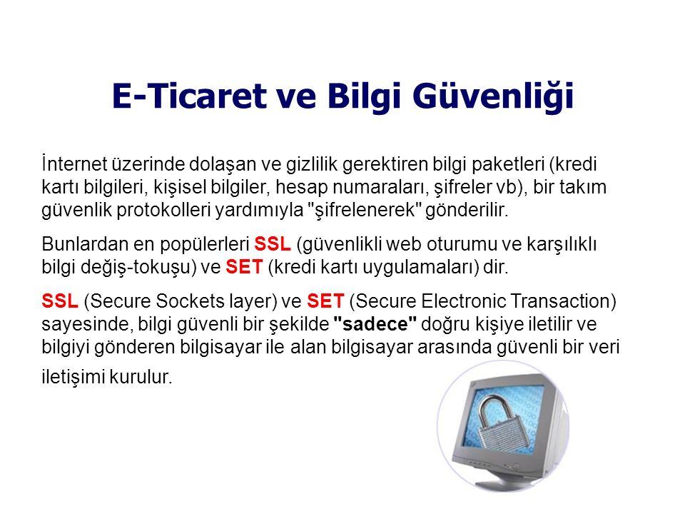 E-Ticaret ve Bilgi Güvenliği İnternet üzerinde dolaşan ve gizlilik gerektiren bilgi paketleri (kredi kartı bilgileri, kişisel bilgiler, hesap numarala