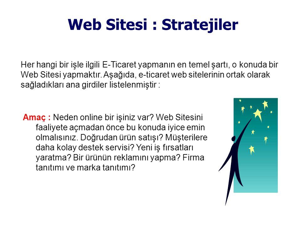 Web Sitesi : Stratejiler Amaç : Neden online bir işiniz var? Web Sitesini faaliyete açmadan önce bu konuda iyice emin olmalısınız. Doğrudan ürün satış