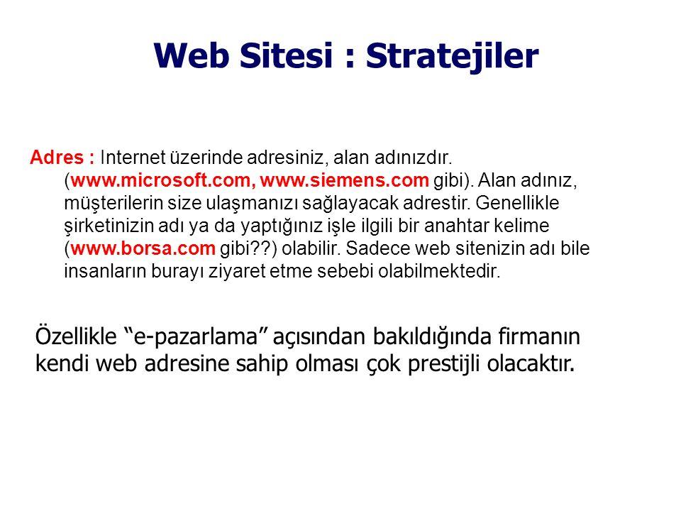Web Sitesi : Stratejiler Adres : Internet üzerinde adresiniz, alan adınızdır. (www.microsoft.com, www.siemens.com gibi). Alan adınız, müşterilerin siz