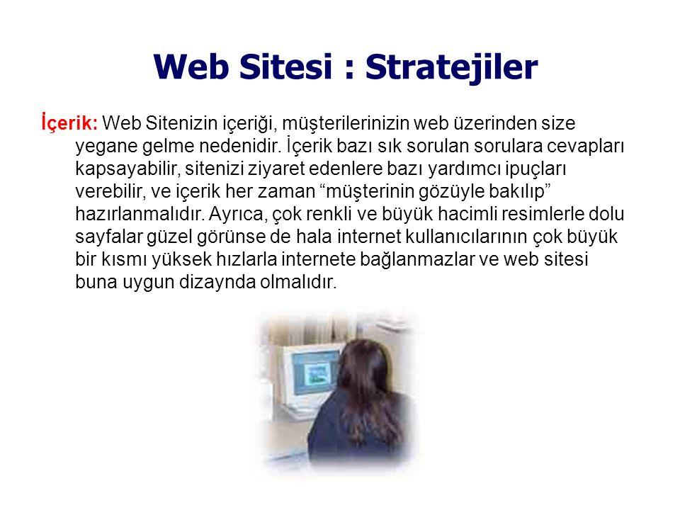 Web Sitesi : Stratejiler İçerik: Web Sitenizin içeriği, müşterilerinizin web üzerinden size yegane gelme nedenidir. İçerik bazı sık sorulan sorulara c
