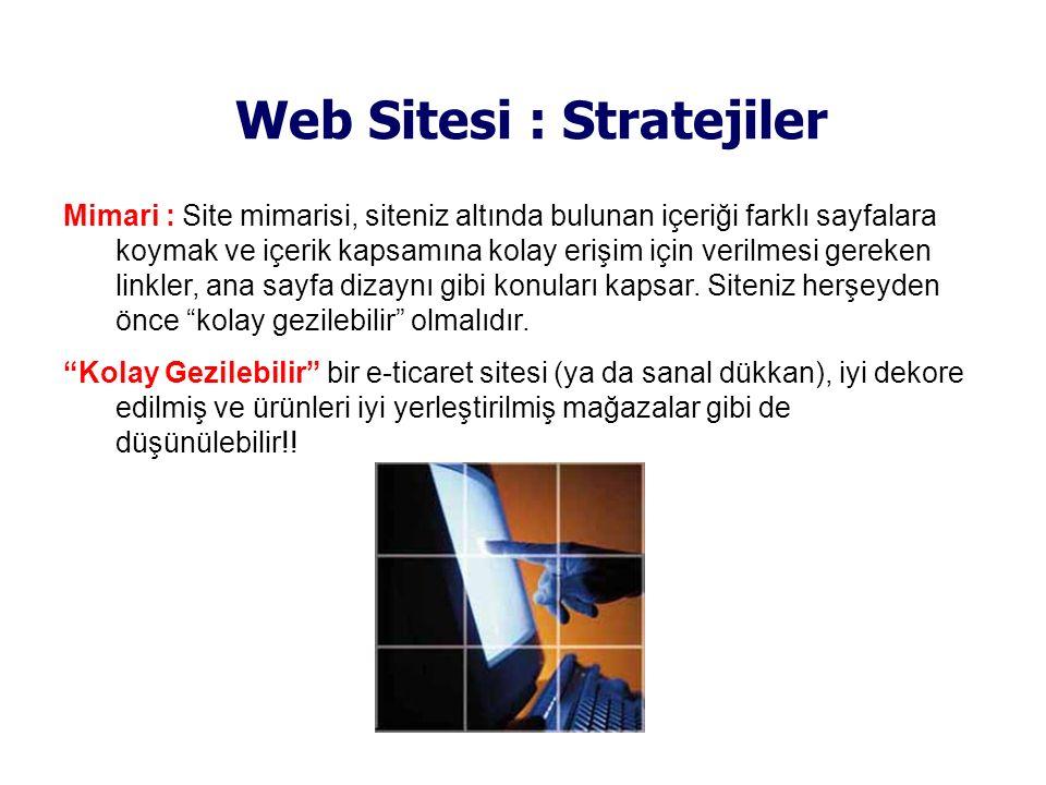 Web Sitesi : Stratejiler Mimari : Site mimarisi, siteniz altında bulunan içeriği farklı sayfalara koymak ve içerik kapsamına kolay erişim için verilme