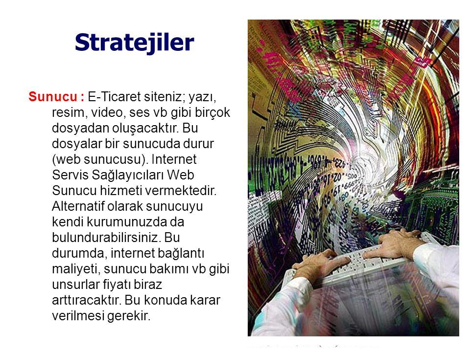 Stratejiler Sunucu : E-Ticaret siteniz; yazı, resim, video, ses vb gibi birçok dosyadan oluşacaktır. Bu dosyalar bir sunucuda durur (web sunucusu). In