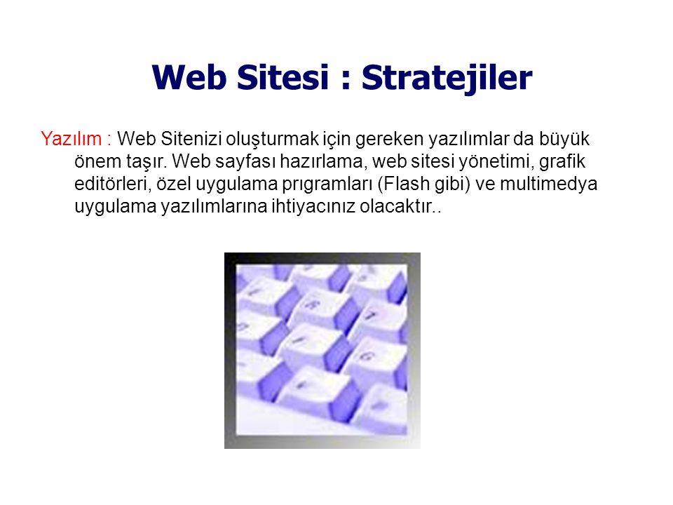 Web Sitesi : Stratejiler Yazılım : Web Sitenizi oluşturmak için gereken yazılımlar da büyük önem taşır. Web sayfası hazırlama, web sitesi yönetimi, gr
