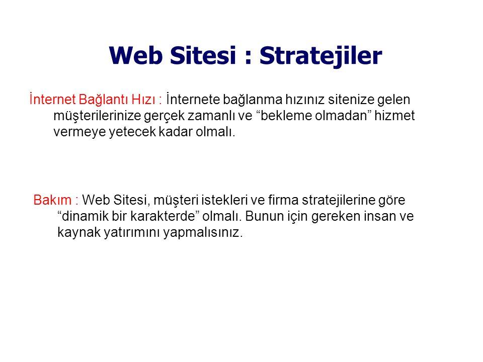 """Web Sitesi : Stratejiler İnternet Bağlantı Hızı : İnternete bağlanma hızınız sitenize gelen müşterilerinize gerçek zamanlı ve """"bekleme olmadan"""" hizmet"""