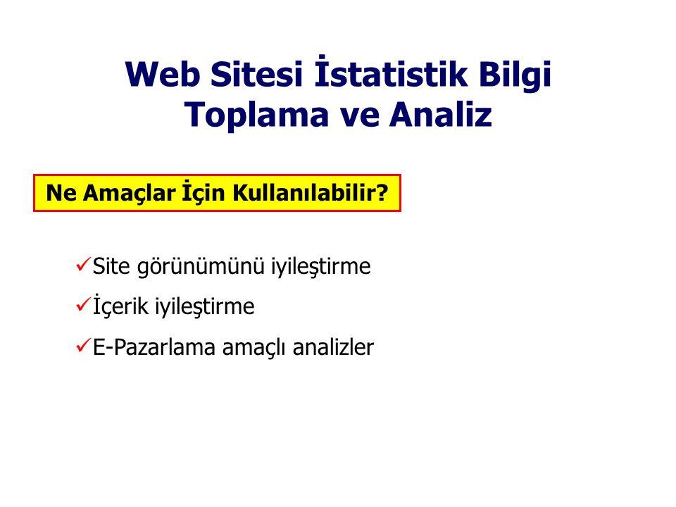 Web Sitesi İstatistik Bilgi Toplama ve Analiz Site görünümünü iyileştirme İçerik iyileştirme E-Pazarlama amaçlı analizler Ne Amaçlar İçin Kullanılabil