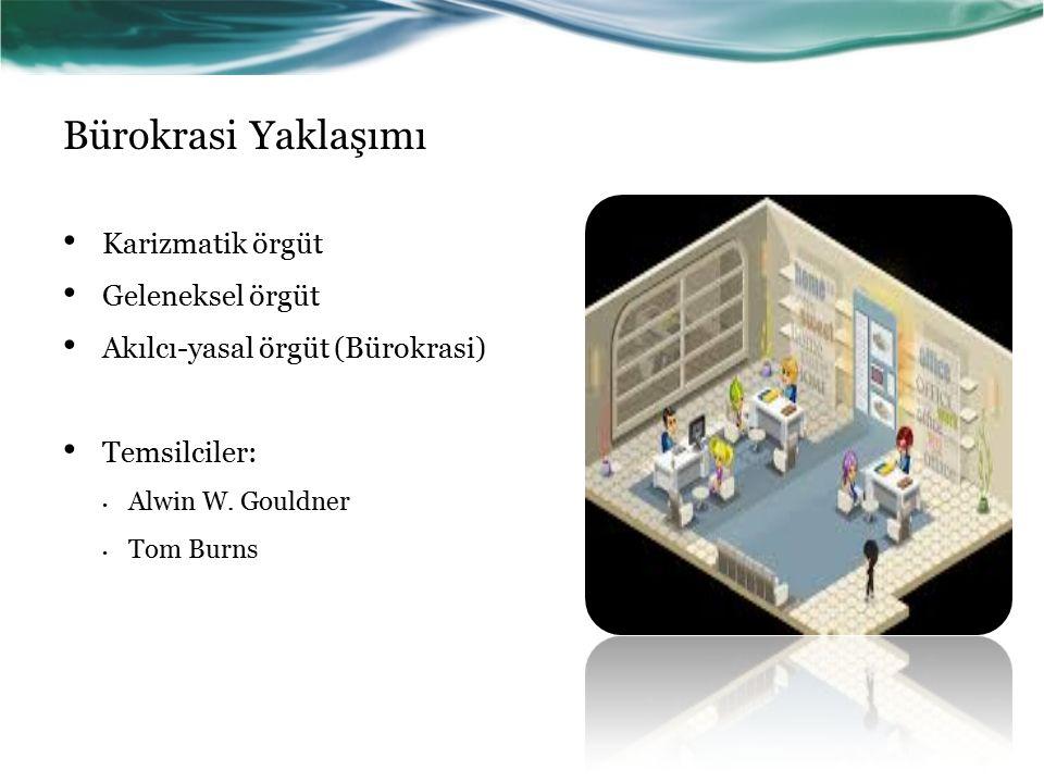 Bürokrasi Yaklaşımı Karizmatik örgüt Geleneksel örgüt Akılcı-yasal örgüt (Bürokrasi) Temsilciler: Alwin W.