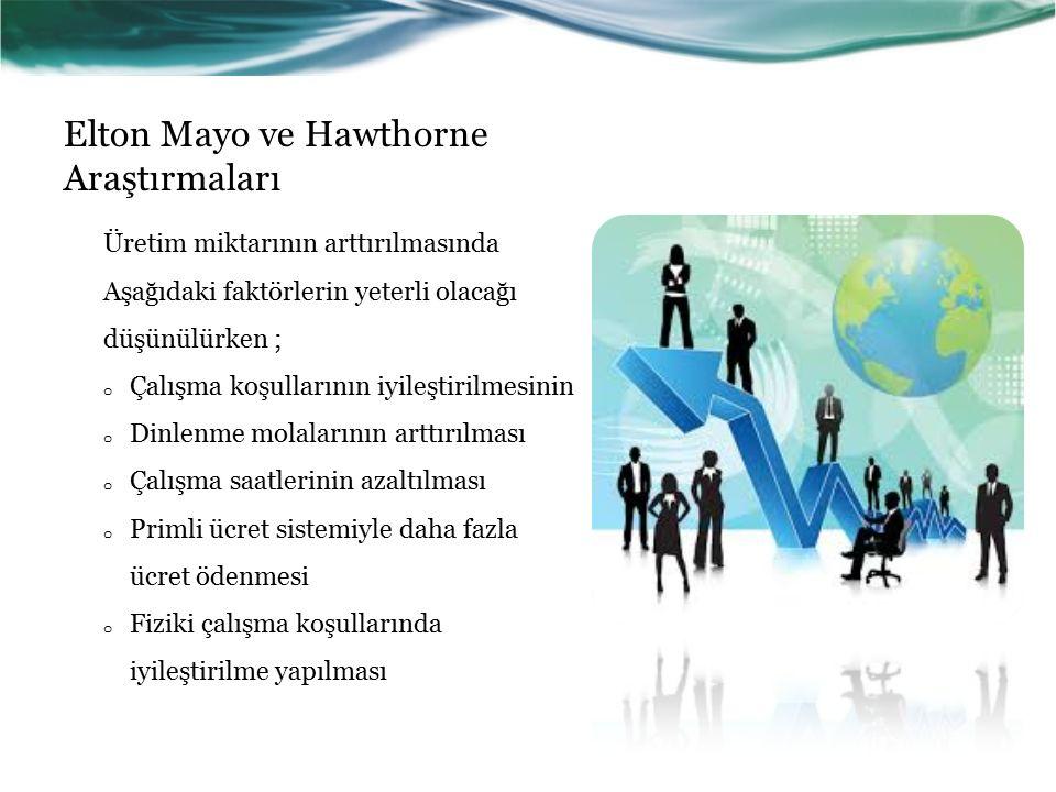 Elton Mayo ve Hawthorne Araştırmaları Üretim miktarının arttırılmasında Aşağıdaki faktörlerin yeterli olacağı düşünülürken ; o Çalışma koşullarının iyileştirilmesinin o Dinlenme molalarının arttırılması o Çalışma saatlerinin azaltılması o Primli ücret sistemiyle daha fazla ücret ödenmesi o Fiziki çalışma koşullarında iyileştirilme yapılması