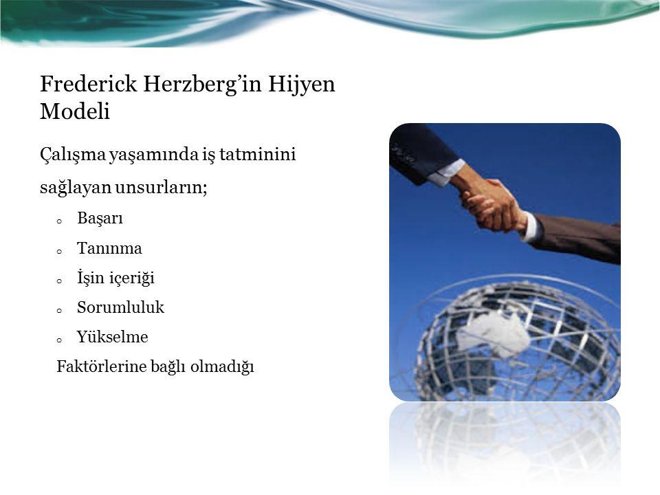 Frederick Herzberg'in Hijyen Modeli Çalışma yaşamında iş tatminini sağlayan unsurların; o Başarı o Tanınma o İşin içeriği o Sorumluluk o Yükselme Faktörlerine bağlı olmadığı