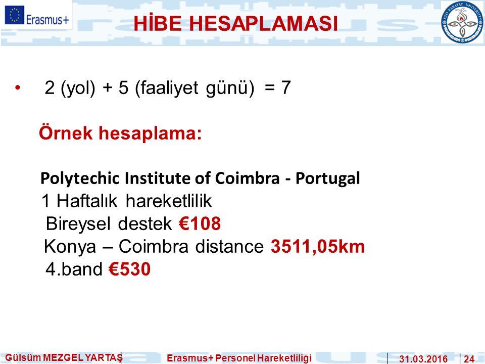 Gülsüm MEZGEL YARTAŞ Erasmus+ Personel Hareketliliği 31.03.2016 24 HİBE HESAPLAMASI 2 (yol) + 5 (faaliyet günü) = 7 Örnek hesaplama: Polytechic Instit