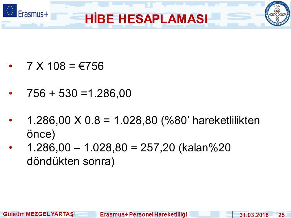 Gülsüm MEZGEL YARTAŞ Erasmus+ Personel Hareketliliği 31.03.2016 25 7 X 108 = €756 756 + 530 =1.286,00 1.286,00 X 0.8 = 1.028,80 (%80' hareketlilikten