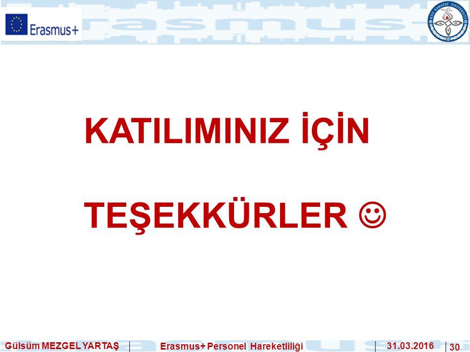 Gülsüm MEZGEL YARTAŞ Erasmus+ Personel Hareketliliği 31.03.2016 30 KATILIMINIZ İÇİN TEŞEKKÜRLER