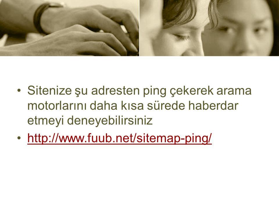 Sitenize şu adresten ping çekerek arama motorlarını daha kısa sürede haberdar etmeyi deneyebilirsiniz http://www.fuub.net/sitemap-ping/