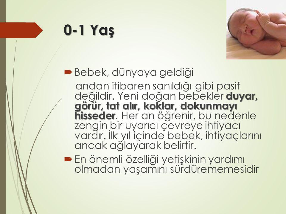 0-1 Yaş  Bebek, dünyaya geldiği duyar, görür, tat alır, koklar, dokunmayı hisseder andan itibaren sanıldığı gibi pasif değildir. Yeni doğan bebekler