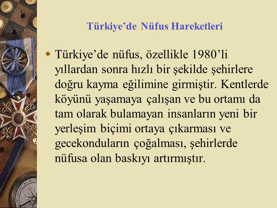 Türkiye'de Nüfus Hareketleri  Türkiye'de nüfus, özellikle 1980'li yıllardan sonra hızlı bir şekilde şehirlere doğru kayma eğilimine girmiştir. Kentle