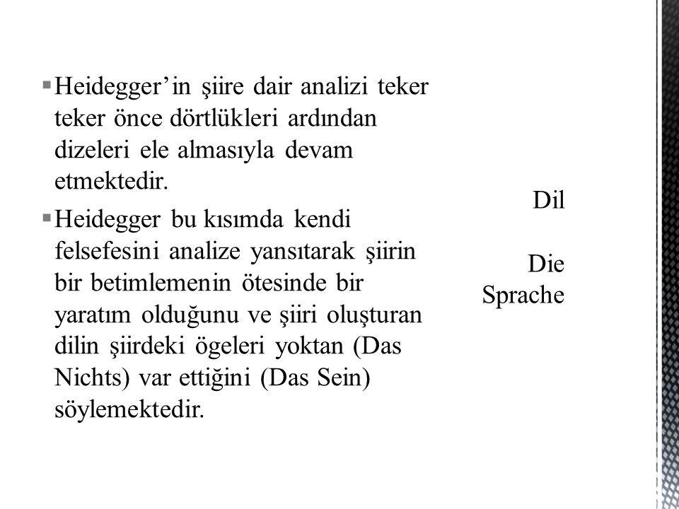  Heidegger'in şiire dair analizi teker teker önce dörtlükleri ardından dizeleri ele almasıyla devam etmektedir.  Heidegger bu kısımda kendi felsefes